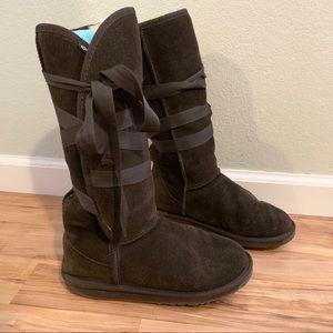 Chocolate ribbon tie wool Emu boots!